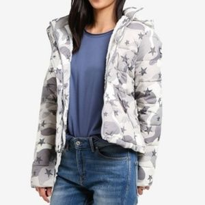 Hollister sherpa lined puffer jacket in Grey Camo